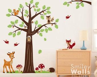 Nursery Wall Decal, Woodland Forest Animals Wall Decal, Tree Wall Decal,Bambi Deer Owls Squirrels Raccoon Baby Kids Room Art Decor