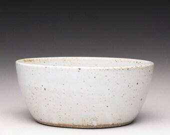 handmade pottery bowl, ceramic bowl, white stoneware bowl