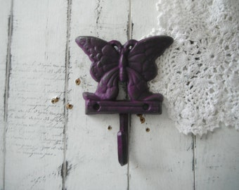 butterfly hook aged purple hook distressed hook leash hook scarf hook rustic decor clothing hook french country wall hook painted hook grape