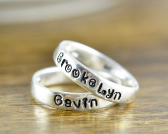 Stacking Rings, Hand Stamped Ring, Personalized Ring, Silver Rings, Personalized Jewelry, Mothers Ring, Mothers Jewelry, Gift for Mother