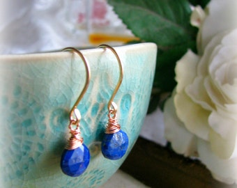 Friendship Blue Lapis Lazuli Gold Earrings - Gold Filled Rose Filled Dangle Drop Royal Blue Indigo Simple Gift Sister Mother Daughter Wife