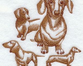 Daschund Sketch Style Embroidered Flour Sack Hand/Dish Towel