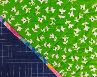 Floral Binding Whole Cloth Baby Quilt