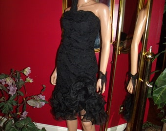 Vintage Lace  Midnight Glo Flapper Dress does G. Gatsby Ruffle  Size 10
