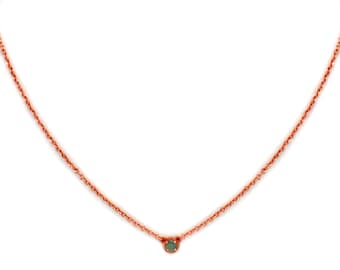 Dainty Gemstone Necklace - Delicate Rose Gold Chain Necklace - Green Tourmaline Necklace - Birthstone - Tiny Gemstone Necklace - Layering