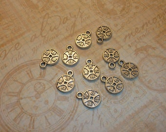 tibetan round charm writing on the charms..china charm round silver charm 10 pcs