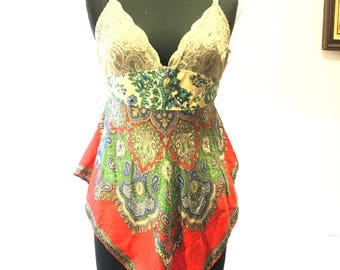 Gypsy bohemian altered top camisole scarf front paisley colorful red and green beads medium 36 bust