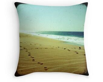 Beach Bliss - Footprints (in the sand, photo throw pillow cushion cover, summer green ocean waves beach photography, Jesus religious art)