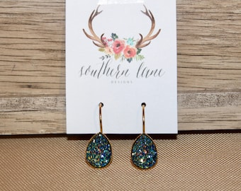 Blue Gold Teardrop Druzy Earrings