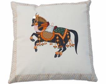Hand Painted Pillow, Throw Pillow, Handmade Pillow, Decorative Pillow, Sofa Pillow, Black Horse Royale Pillow,