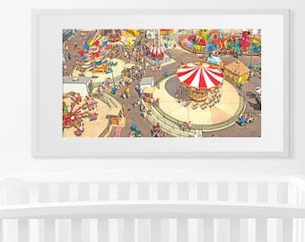 Boardwalk Carnival Theme Park Art // Mary Go Round Whimsical Art Print // Carousel Art Print // Kid Room Art // Nursery Wall Art