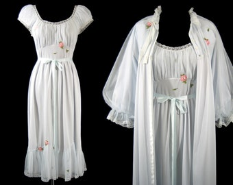 Vintage LAROS PEIGNOIR SET Negligee Robe Gown Light Blue Appliques Small 32 1950's