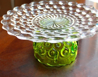 Green Cake Stand for Spring Weddings or Vintage Tea Parties / Glass Dessert Pedestal / Cupcake Stand Truffle Pedestal for Wedding Truffles