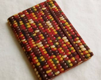 Fabric Covered Pocket Memo Book, INDIAN CORN, Refillable Mini Composition Notebook Cover