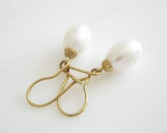 White Fresh Water Pearls on 14 karat Earhooks | Gold Pearl Jewelry | Romantic Earrings | Wedding Jewelry | Bridal Jewelry