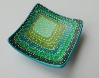 Green Square Polymer Clay Ring Dish, ring bowl, jewelry holder, trinket dish