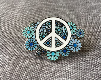 Blue Daisy Peace Pin