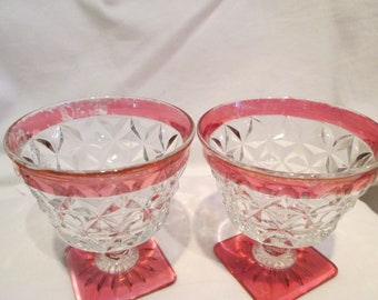 Vintage Ruby Red Flash Sherbet/ice cream dishes