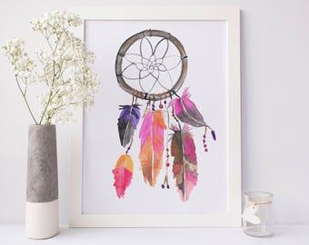 Dreamcatcher Print, Boho Wall Decor, Bohemian Art Poster Large, Watercolor Art Print, Dream Catcher Art, Instant Download, Digital Download