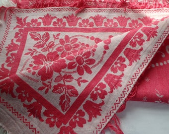 Vintage Turkey Red Tablecloth Reversible Floral Design 47 x 49