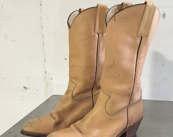 Vintage Frye Cowboy Western Boots 2308 Light Camel Leather Sz 11.5