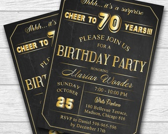70th birthday invitation for men . 30th 40th 50th 60th 70th 80th 90th any age. Adult Birthday Invitation - Printable digital. No.119
