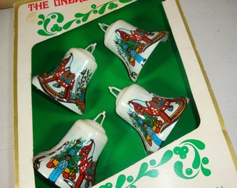 Vintage Christmas Ornaments, Bell Shape, Boxed Set or Four, Holiday Decor, Plastic  (325-11)