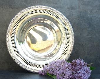 Vintage International Silver Bowl, Silverplate Serving Piece, Reticulated Ornate Floral, 1960 Award Trophy