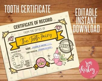 Tooth Fairy Certificate, Tooth Certificate, Tooth Fairy Printable, Official Tooth Fairy, Customized, Custom, Printable, Editable, Instant