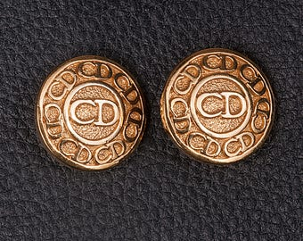1980s Christian Dior gold plated Clip on Ear rings