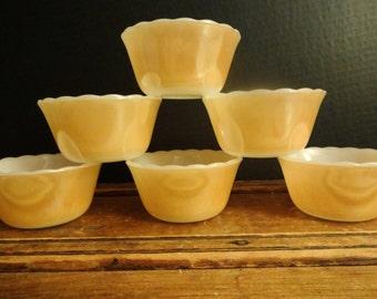 Fire King Peach Luster Custard Cups - Set of Six - Individual Casseroles - Peach Lustre