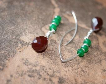 HOT Salsa Carnelian and Jade Earrings