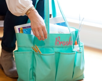 Monogrammed Caddy ~ Personalized Large Caddy ~ FREE Personalization ~ Monogrammed Teacher Tote ~ Essential Carry All Organizer ~ 4 colors!