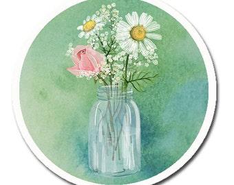 Fruit Mason Canning Jar Cottage Chic Country Flower Drawer Cabinet Knob