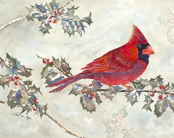 Cardinal and Holly 8x10 Giclee Print
