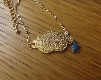 Autumn cloud, sparkly gold stars: bracelet