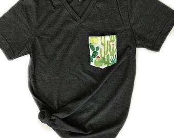 Women's Tshirt, Cactus, Pocket Tshirt, Cacti Pocket