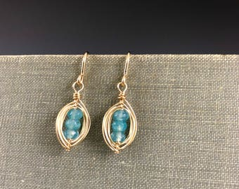 Blue Quartz Pod Earrings in Gold-Fill