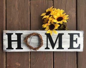 HOME WREATH SIGN/Grapevine Wreath Sign/Boxwood Wreath//Home Sweet Home/Rustic Home Decor/Wreath Wood Sign/Home Wreath Art