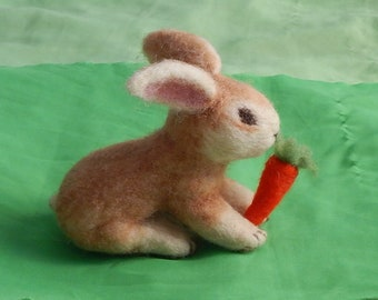 Needle felted 100% wool Easter Bunny/rabbit replica with carrot