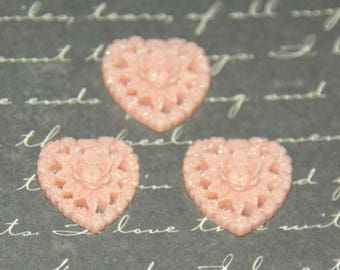 3 pink heart appliques/cabochon and 17mm resin flowers