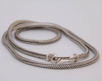 Sterling silver snake chain necklace / Indian silver snake chain / thick snake chain / rope chain / Indian silver / serpent chain /401