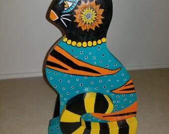 Whimsical bohemian handpainted cat papertowel holder.