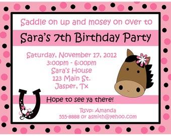 20 Personalized Birthday Invitations   -  Western Pony