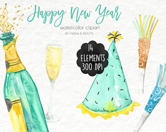 Watercolor Clip Art - New Year - Personal Use - Holiday - Happy - Party - Champagne - Time - Resolutions - New Year's Eve