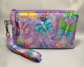 Butterfly Butterflies Glitter Rhinestone Sparkle Wristlet, Purse, Clutch