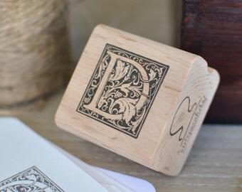 Letter D Rubber Stamp, Monogram D stamp, Wood Mounted Rubber Stamp, Alphabet letter D stamp