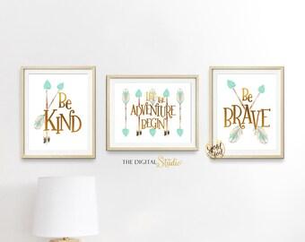 Woodland Gender Neutral Nursery Wall Art, Gender Neutral Nursery Theme, Let the Adventure Begin Wall Art, Mint and Gold foil