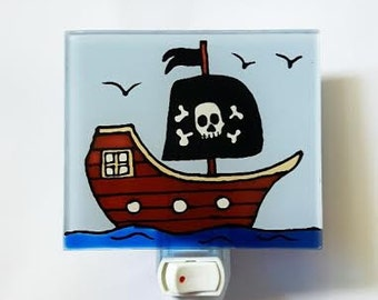 Night light, ship pirate, LED, gift, decoration, child, C.Ricard,