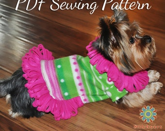 Small Dog FLEECE SWEATER PATTERN, Dog Clothes Pdf Sewing Pattern, Dog Shirt Sewing Pattern, Sew Dog Clothes, 5 Sizes, 2 Styles